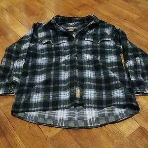 Boys flannel print long sleeved button up shirt